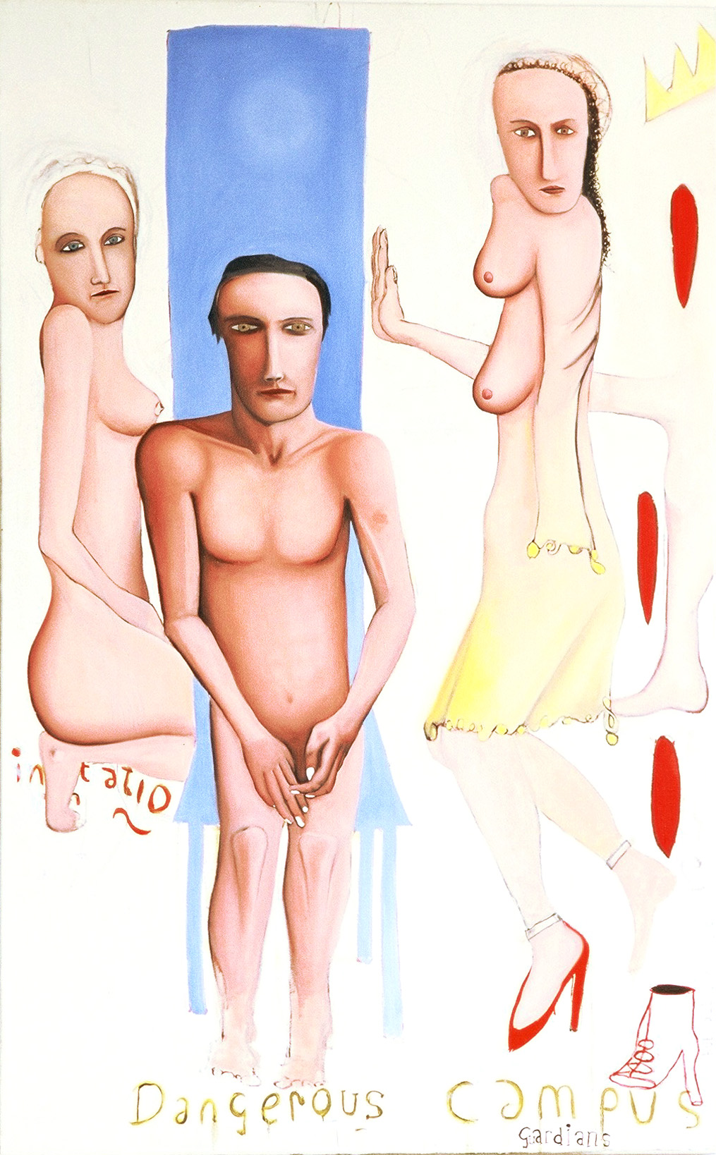 painting of naked man and two woman