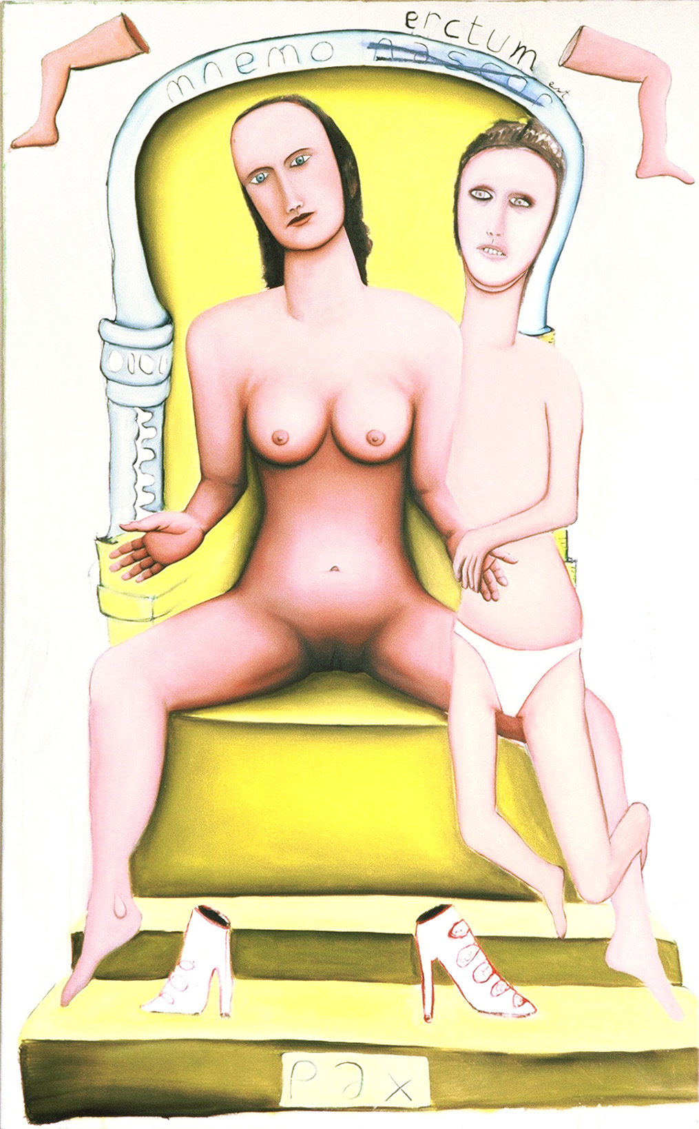 naked woman on chaire with little boy